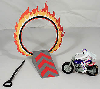 Evel Knievel Stunt with Hoop of Fire