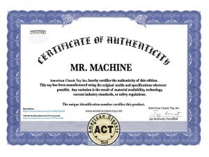 Certificate of Authenticity Mr. Machine ACT